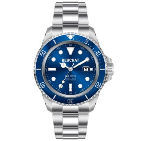 Beuchat Armbanduhr Kollektion GB 1950 Armband aus Stahl mit eingesetzter Schnalle blaues Zifferblatt wasserdicht bis 200 m Durchmesser 44 mm Referenznummer BEU1950 6