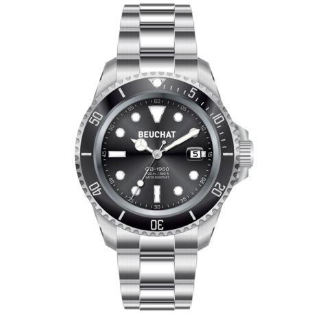 Beuchat Armbanduhr Kollektion GB 1950 Armband aus Stahl mit eingesetzter Schnalle schwarzes Zifferblatt wasserdicht bis 200 m Durchmesser 40 mm Referenznummer BEU1950 1
