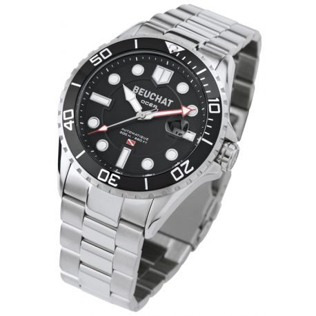 Beuchat Herrenarmbanduhr Modell OCEA Schwarz und Silber BEU0095 1