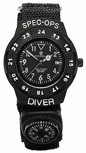 Smith Wesson Special Ops Set Armbanduhr mit Nylon Armband und Kompass sowie Einhandmesser WEEE Reg Nr DE93223650