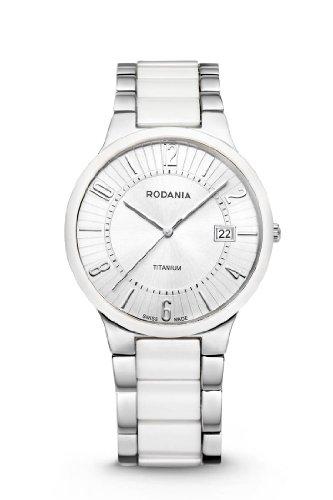 RODANIA Swiss Mystery Herren Armbanduhr mit silber Zifferblatt Analog Anzeige und Armband Keramik weiss RS2508390