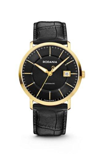 RODANIA Swiss Cirius Herren Automatik Uhr mit schwarzem Zifferblatt Analog Anzeige und Lederband schwarz RS2508136