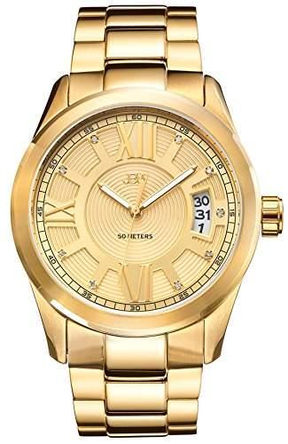 JBW Bond Herren-Armbanduhr Diamant 44mm Armband 18K Gold beschichtetes Edelstahl Gehäuse + Quarz J6311A