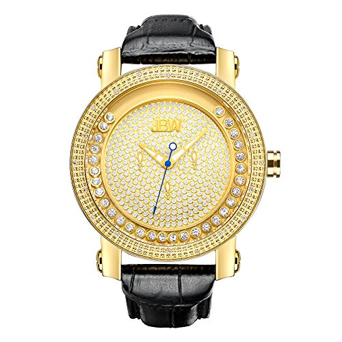Just Bling Herren JB 6211L A Hendrix Gold Tone Multi Function Leder Diamond Watch