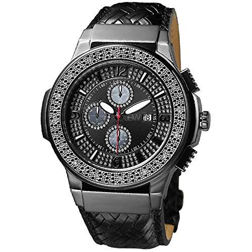 JBW Diamant Herren Edelstahl Uhr SAXON - schwarz