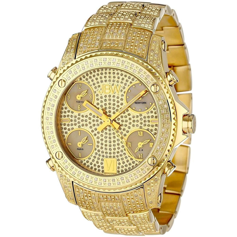 Just Bling Herren JB-6213-A Jet Setter Gold Five Time Zone Diamond Watch