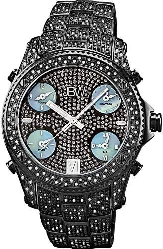 "Just Bling Herren JB-6213-B ""Jet Setter Black"" Schwarz Ion Five Time Zone Diamond Watch"