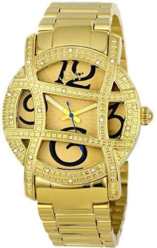 Just Bling Ladies JB-6214-A Gold-Tone Designer Dial Diamond Watch