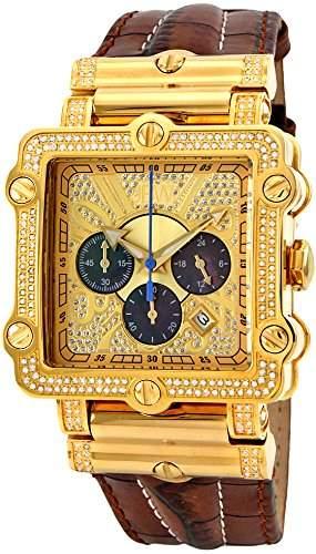 """Just Bling Herren JB-6215-238-A """"Hollywood Brown"""" Diamond And Gold Luenette Lederband Uhren"""