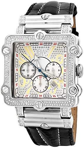Just Bling Herren JB-6215-238-B Hollywood Silver Diamond-und Edelstahl-Luenette Lederband Uhren