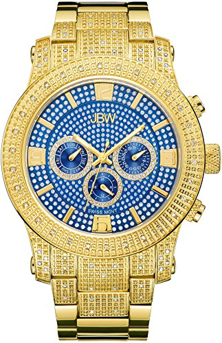 JBW Diamant Herren Edelstahl Uhr LYNX gold blau