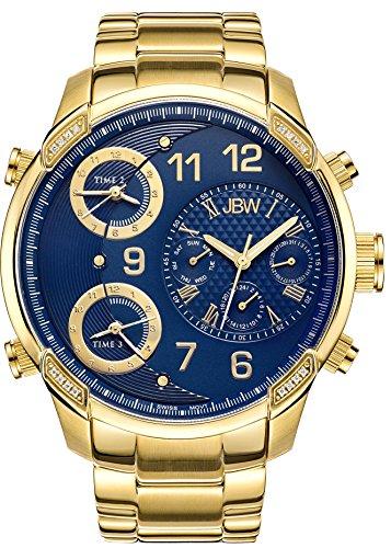 JBW G4 Herren Armbanduhr Diamant 53mm Armband 18K Gold beschichtetes Edelstahl Schweizer Quarz J6248K