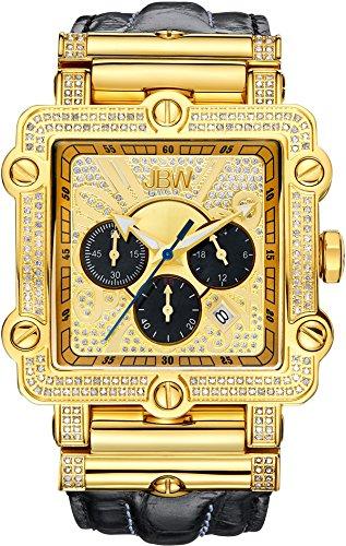 JBW Phantom Diamant 46mm Armband Leder Schwarz Quarz Zifferblatt Gold JB 6215 238 G