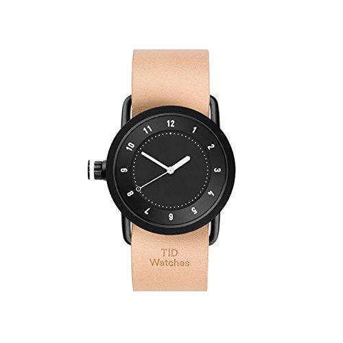 TID Watches Uhr Armbanduhr Schwarz Lederarmband Natural