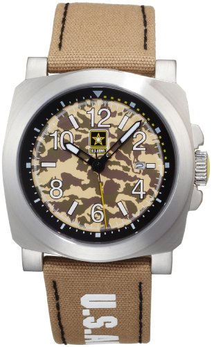 US Armee Herren INF 818 Infanterie Miliz Uhr aus Edelstahl