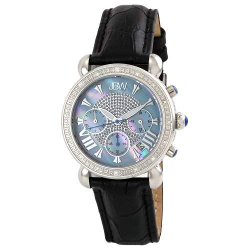 "Just Bling Ladies JB-6210L-C ""Victory Blue"" Stainless Steel Leather Diamond Watch"
