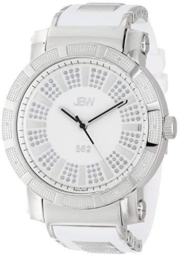 "Just Bling Herren JB-6225-E Staedtische Sammlung ""562"" Pave Dial Diamond White Rubber Uhr"