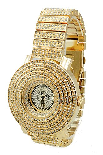 Voellig Iced Out Gold Tone Hip Hop Herren 6 reihig Zirkonia Bling Bing watch over Groesse