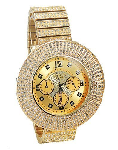 Voellig Iced Out Gold Tone Hip Hop Herren fuenfreihiges Zirkonia Bling Bing watch over Groesse