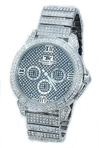 Voellig Iced Out Pave Silber Ton Hip Hop Herren Bling Bing watch large Groesse