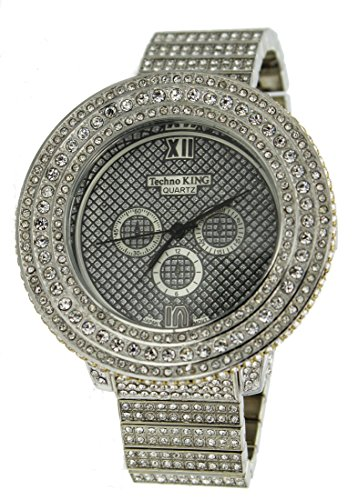 Voellig Iced Out Pave Silber Ton Hip Hop Herren Bling Bing watch over Groesse