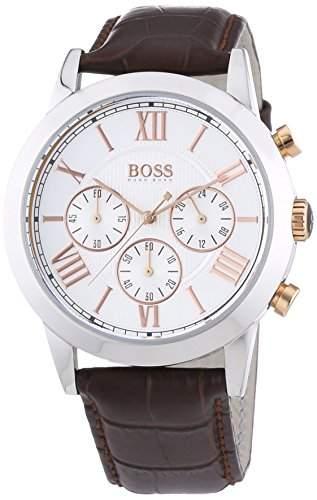 Hugo Boss Herren-Armbanduhr Chronograph Quarz Leder 1512728