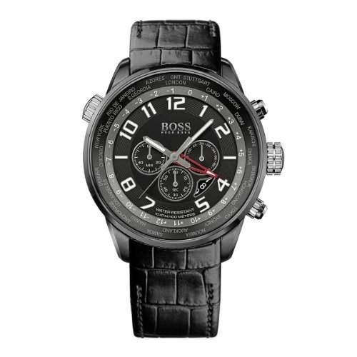 Hugo Boss Herren-Armbanduhr Chronograph Quarz Leder 1512740