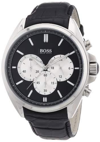 Hugo Boss Herren-Armbanduhr XL Chronograph Quarz Leder 1512879