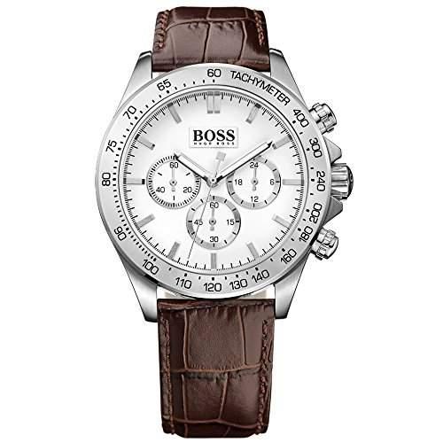 Hugo Boss Herren-Armbanduhr Chronograph Quarz Leder 1513175