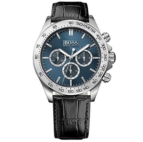 Hugo Boss 1513176 Ikon Chronograph Uhr Herrenuhr Lederarmband Edelstahl 100m Analog Chrono schwarz