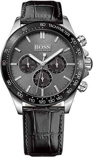 Boss Herren-Armbanduhr Chronograph Quarz Leder 1513177
