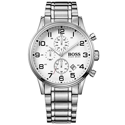 Hugo Boss 1513182 Aeroliner Chronograph Uhr Herrenuhr Edelstahl 50m Analog Chrono Datum weiss