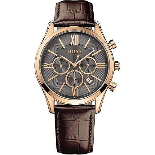 Hugo Boss Herren-Armbanduhr Chronograph Quarz Leder 1513198
