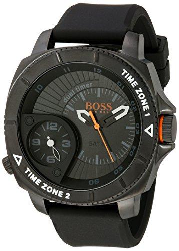 BOSS Orange Herren 1513213 Sao Paulo Edelstahl Armbanduhr mit schwarzem Silikon Band