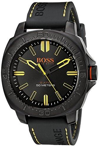 BOSS Orange Herren 1513249 Sao Paulo schwarz Edelstahl Armbanduhr mit Silikon Band