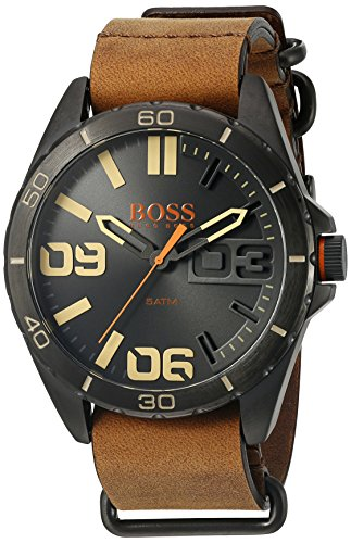 BOSS Orange Herren 1513316 Berlin Analog Display Japanisches Quarz braun Armbanduhr