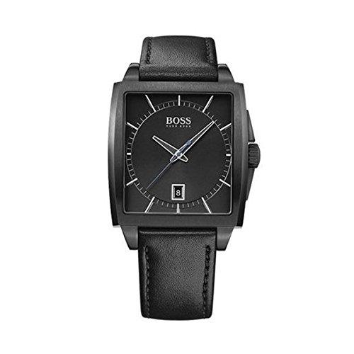 Hugo Boss 1513226 Herren s Modern Eckig Schwarz Lederband Quarz Armbanduhr