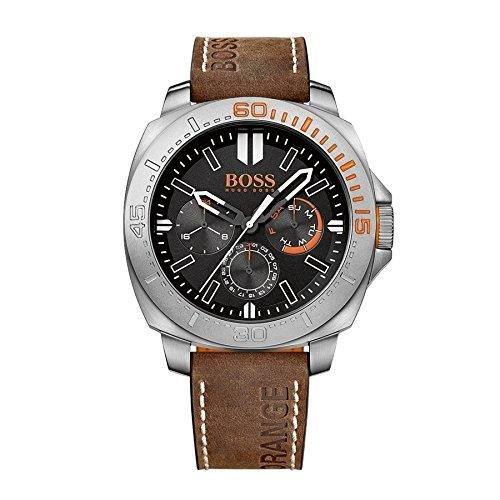Hugo Boss Orange Herren Braun Leder Armband Edelstahl Gehaeuse Datum Uhr 1513297