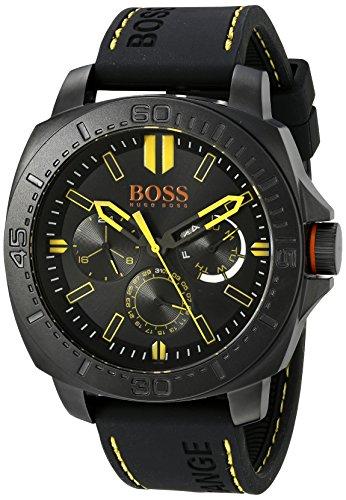 Hugo Boss Herren Armbanduhr 46mm Armband Silikon Schwarz Gehaeuse Vergoldetes Edelstahl Batterie 1513243