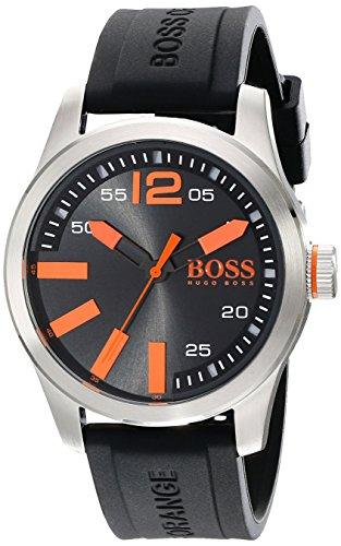 Hugo Boss Orange Herren 44mm Schwarz Silizium Armband Mineral Glas Uhr 1513059