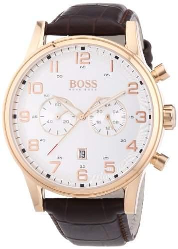 Hugo Boss Herren-Armbanduhr XL Analog Quarz Leder 1512921