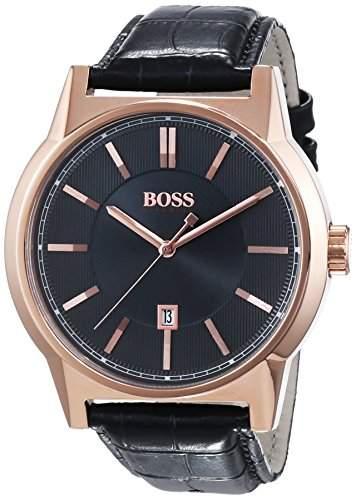 Hugo Boss Herren-Armbanduhr XL Architecture Round Analog Quarz Leder 1513073