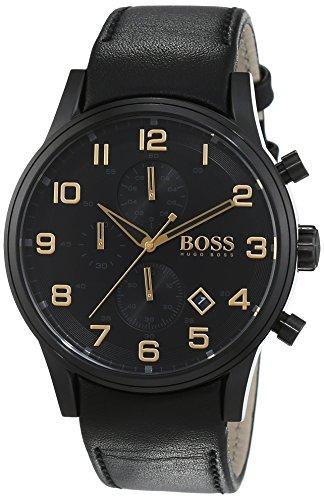 Hugo Boss Aeroliner Black and Gold Chronograph Quarz Leder 1513274