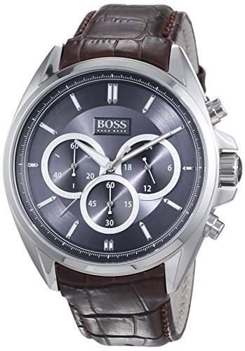 Hugo Boss Herren-Armbanduhr XL Driver Chronograph Quarz Leder 1513035