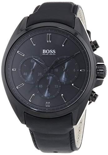 Hugo Boss Herren-Armbanduhr Chronograph Quarz Leder 1513061