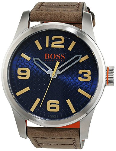 BOSS Orange Herren Armbanduhr PARIS Analog Quarz Leder 1513352