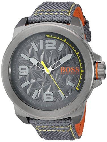 BOSS Orange Herren New York Quarz Kunstharz und Leinwand Casual Uhr Farbe Grau Modell 1513344