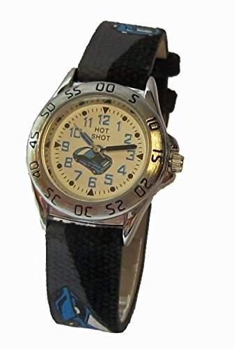 Hot Shot Jungen - Armbanduhr Analog Quarz Auto Schwarz Blau 0957-11