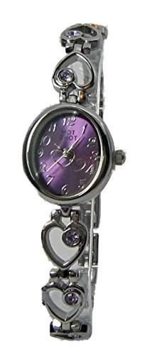 Hot Shot Maedchen - Armbanduhr Teens Herz Edelstahl Violett 1888-1