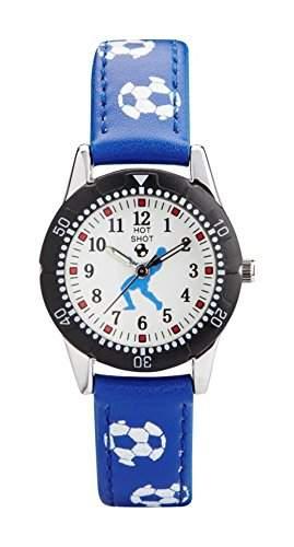 Hot Shot Jungen-Armbanduhr Fussball Analog Quarz Blau 5511b